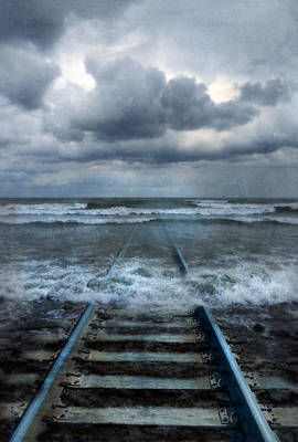 Ethereal Dreamy Ocean Photograph - Train Tracks Into The Sea by Jill Battaglia