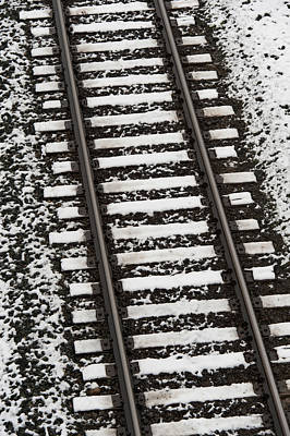 Train Tracks Lightly Covered With Snow Art Print