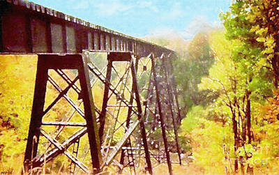 Print featuring the digital art Train Trestle by Phil Perkins