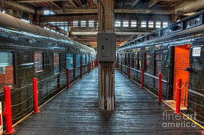 Trains - Two Rail Cars In Roundhouse Art Print by Dan Carmichael