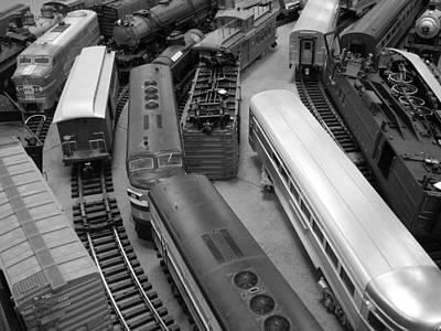 Art Print featuring the photograph Trains 2 Bw by Elizabeth Sullivan
