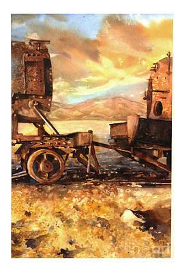Salt Flats Painting - Trains- Bolivia by Ryan Fox