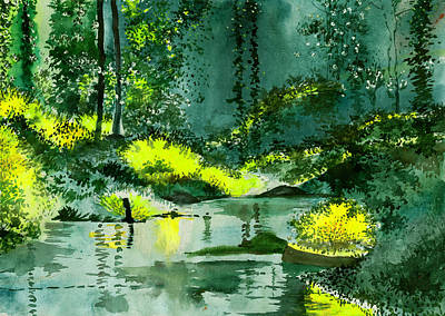 Autumn Landscape Drawing - Tranquil 1 by Anil Nene