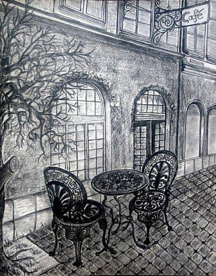 Bistro Drawing - Tranquil Cafe by Ulrike Proctor