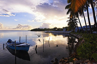 Tranquil Sunset In A Fishing Village Art Print by George Oze