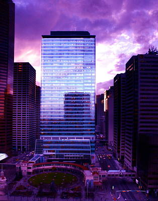 Print featuring the photograph Transalta Building Purple by JM Photography