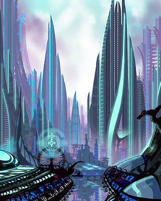 Futurism Architecture Wall Art - Painting - Transia by James Christopher Hill