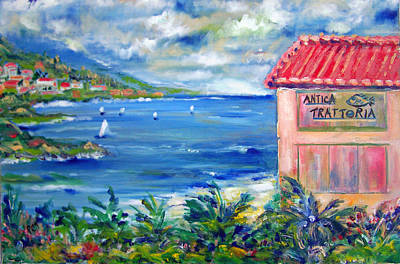 Portofino Restaurant Painting - Trattoria By The Sea by Patricia Taylor