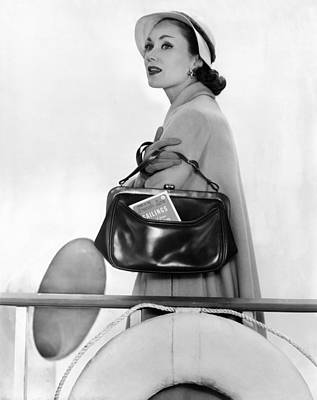 1950s Fashion Photograph - Travel Calf Bag. The Top Opening Framed by Everett