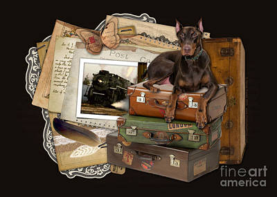 Traveling Red Doberman Art Print