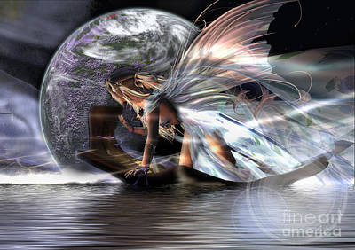 Angel Mermaids Ocean Digital Art - Travels by Georgina Hannay