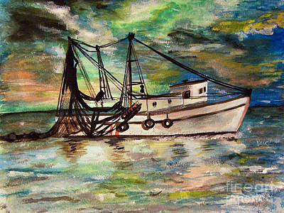 Pulley Painting - Trawling by Isabella F Abbie Shores