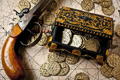 Treasure Box With Old Pistol Art Print by Garry Gay