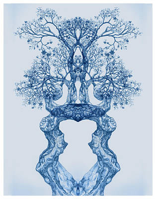 Digital Art - Tree 14 Blue 2 by Brian Kirchner
