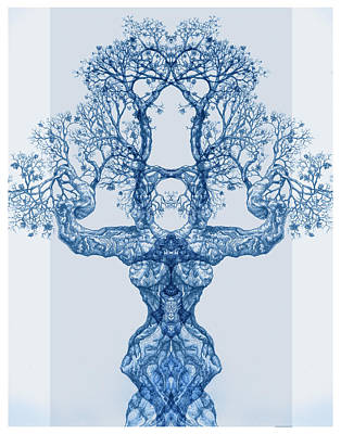 Digital Art - Tree 14 Blue 4 by Brian Kirchner