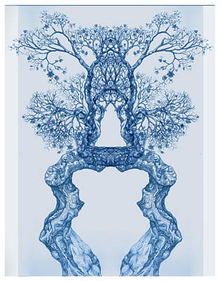 Digital Art - Tree 14 Blue 8 by Brian Kirchner
