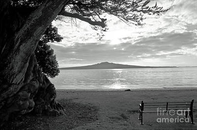 Tree And Ocean And Bench And Volcano Art Print