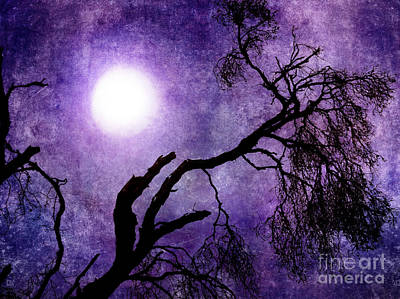 Tree Branch In Purple Moonlight Art Print by Laura Iverson