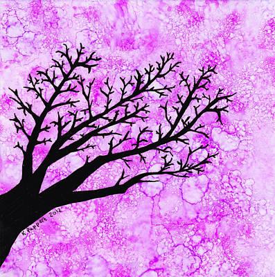 Tree Branch On Pink Splash Art Print by Karen Pappert