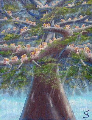 Painting - Tree Houses From Arboregal by Dumitru Sandru