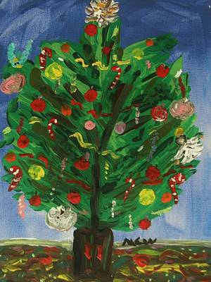 Self View Painting - Tree In The Blue Room by Mary Carol Williams