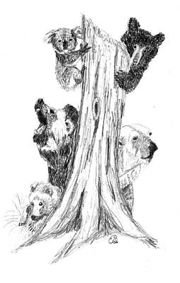 Brown Bear Drawing - Tree Of Bears by Gail Schmiedlin