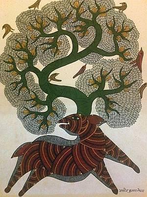 Jangarh Kalam Painting - Tree Of Life 1 by Manoj Tekam