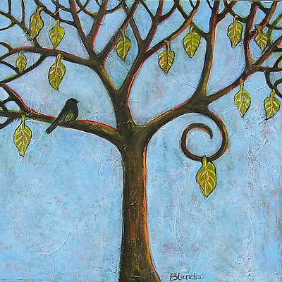 Blackbird Painting - Tree Of Life Blue Sky by Blenda Studio