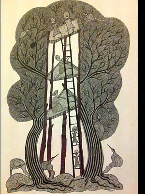 Gond Drawing - Tree Of Life by Man Singh Vyam