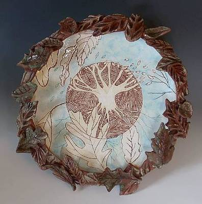 Wheelthrown Ceramic Art - Tree Of Life Plate by Patty Sheppard