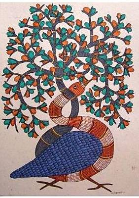 Gond Art Painting - Tree Of Life by Rajendra Shyam