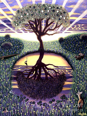 Mystical Landscape Painting - Tree Of Life by Victoria Christian
