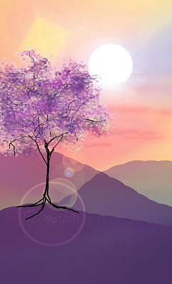 Digital Art - Tree On A Hill by Ginny Schmidt