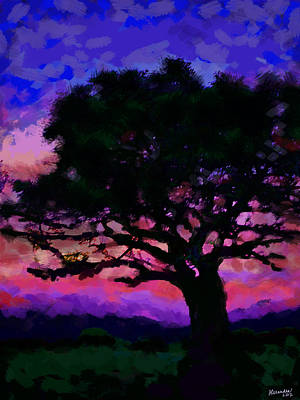 Tree Siluette At Sunset  Art Print by Alexandra Jordankova