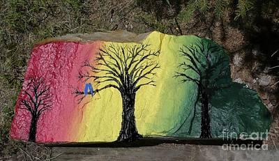 Tree With Lovebirds Original by Monika Shepherdson