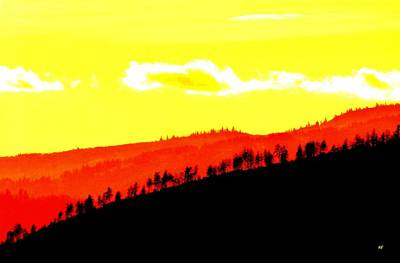 Digital Art - Trees Along The Ridge by Will Borden
