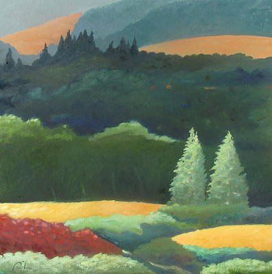 Redwoods Painting - Trees Basking In Late Sun by Gary Coleman