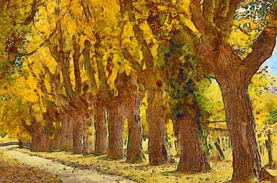 Trees In Fall - Brown And Golden Art Print by Matthias Hauser