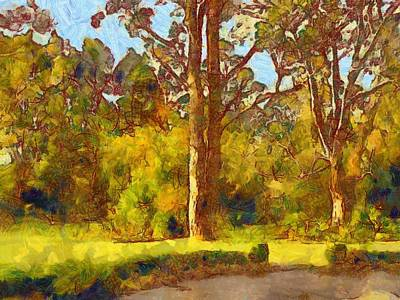 Digital Art - Trees In The Late Afternoon Sun 2 by Fran Woods