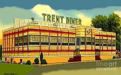 Painting - Trent Diner In Trenton N J Around 1945 by Dwight Goss