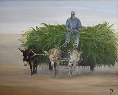 Campesinos Painting - Tres Burritos by Jaime Maldonado