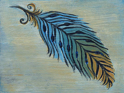 Tri-color Feather Art Print by Kristen Fagan