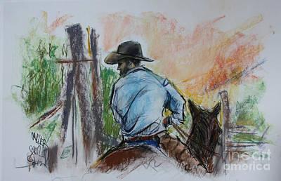 Triangle X Ranch Wrangler Jackson Hole Art Print by Paul Miller