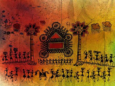 Indian Tribal Art Painting - Tribal Gathering by Subhash Limaye