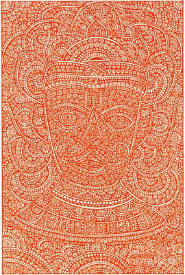 Indian Tribal Art Drawing - Tribal Mask - Vishnu by Purushottam Agashe
