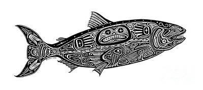 Tribal Salmon Art Print by Carol Lynne