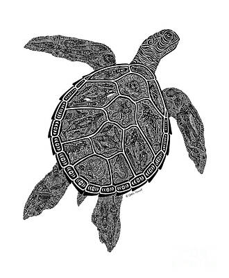 Scuba Diving Drawing - Tribal Turtle IIi by Carol Lynne