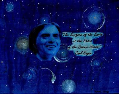 Carl Sagan Painting - Tribute To Carl Sagan by Karen Rowland