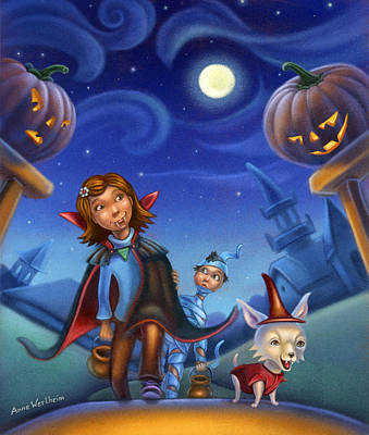 Moonlit Mixed Media - Trick Of Treating by Anne Wertheim