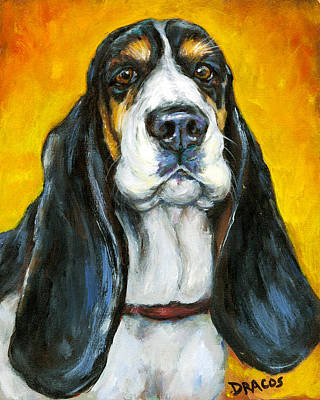 Tricolored Basset Hound On Gold Art Print by Dottie Dracos
